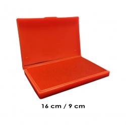 Tampón grande 16x9 cms con tinta color Rojo para entintar timbres de madera y manuales serie económica, línea Talinay
