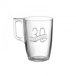 Taza de Vidrio Mug Tarsilla para Té, Incluye grabado láser. 300 cc
