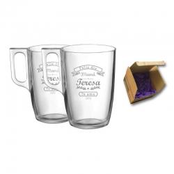 2 Tazas de Vidrio Mug Tarsilla para Té mas caja de presentación, Incluyen grabado láser. 320 cc