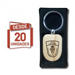 Llavero Escudo de madera, desde 20 Unidades - incluye grabado láser