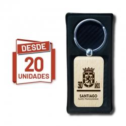 Llavero Rectangular curvo con grabado láser personalizado, desde 20 unidades con caja de regalo. Al por mayor y detalle.