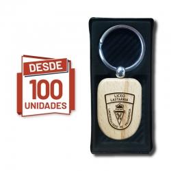 Llavero de madera Escudo grabado, desde 100 Unidades las cuales incluyen grabado láser y caja de regalo