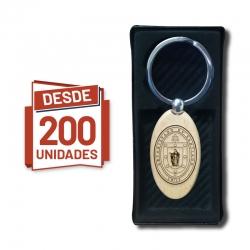 Llavero Ovalado de madera, desde 200 Unidades - incluye grabado láser