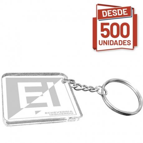 Llavero de acrílico cuadrado con grabado láser 3,5x3,5 cms pack desde 500 unidades