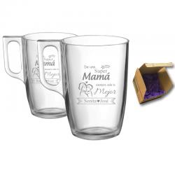 Regalo Día de la Madre 2021 - Pack Tazas té y café personalizado 320 cc. - Incluye grabado láser y caja de presentación.
