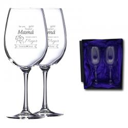 Regalo Día de la Madre 2021 - Pack Copa de Vino personalizado 470 cc. - Incluye grabado láser y caja de presentación.