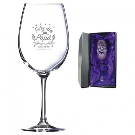 Regalo Día del Padre - Copa de Vino personalizada 470 cc. - Incluye grabado láser y caja de presentación.
