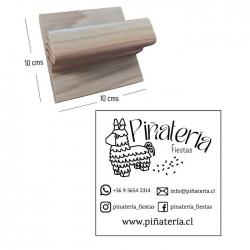 Timbre base de Madera 10x10 cms - incluye grabado láser - personalizable
