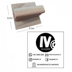 Timbre base de madera cuadrado 12x12 cms. - personalizado - grabado láser