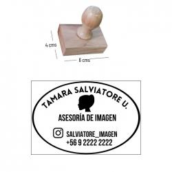Timbre base de madera S 6 x 4 cms. - Grabado láser personalizado