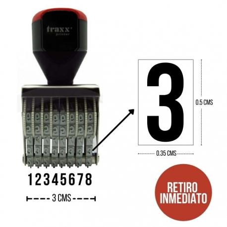 Foliador (numerador) Manual Traxx de 8 dígitos (N04-08)