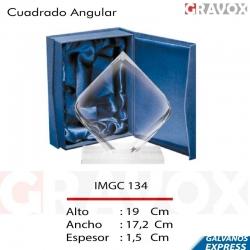 Galvano de Cristal Cuadrado Angular, Incluye caja de presentación y grabado láser