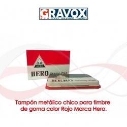 Tampón color Rojo metálico chico para timbre de goma Marca Hero, recargable.