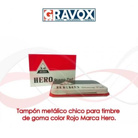 Tampón metálico chico para timbre de goma color Rojo Marca Hero