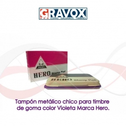 Tampón color Violeta metálico chico para timbre de goma Marca Hero, recargable.