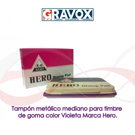 Tampón metálico MEDIANO para timbre de goma color Violeta Marca Hero