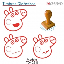 Pack de 3 timbres de madera didácticos caricatura de chanchita Color Rojo