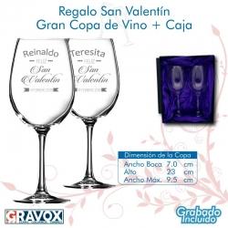 Regalo San Valentín Gran Copa de Vino Grabada más caja de presentación.
