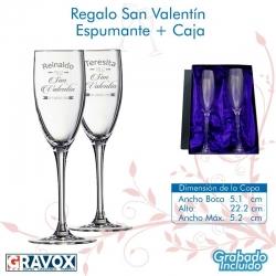 Regalo San Valentín Gran Copa de Espumantes / Champagné Grabada más caja de presentación. 160 cc
