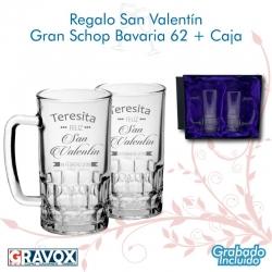 Regalo San Valentín Schop Bavaria 62. con Grabado y caja de presentación pack 2 unidades