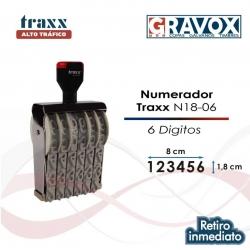 Foliador (numerador) Manual Traxx de 6 dígitos Grandes (N18-06), uno de los más grandes del mercado con 1,8 cms de alto.