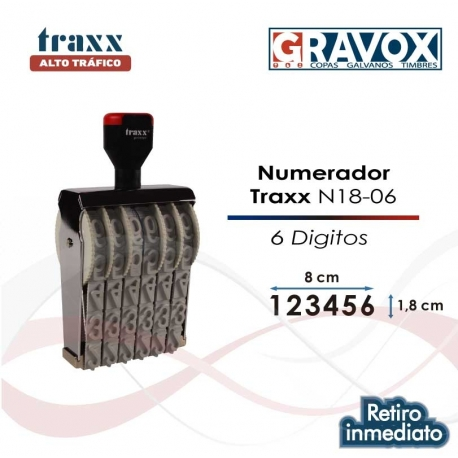 Foliador (numerador) Manual Traxx de 6 dígitos Grandes (N18-06)