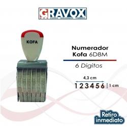 Numerador (Foliador) 6 dígitos Manual de 8 milímetros de alto, marca KOFA, fácil y rápido entintado.