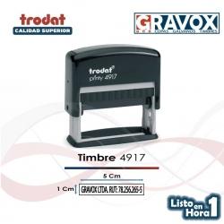 Timbre de goma automático zona de timbrado de 5x1 cms. personalizable. Trodat 4917. acepta recargas de tinta.
