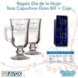 REGALO DÍA DE LA MUJER, pack 2 vasos de café personalizados con grabado láser mas caja de presentación. 240 cc