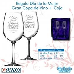 REGALO DÍA DE LA MUJER, pack 2 Copas Gran Vino personalizados con grabado láser mas caja de presentación