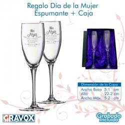 REGALO DÍA DE LA MUJER, pack 2 Copas para Espumantes y/o Champagne personalizadas, más caja de presentación. 160 cc