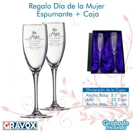REGALO DÍA DE LA MUJER, pack 2 Copas para Espumantes y/o Champagne personalizadas, más caja de presentación.