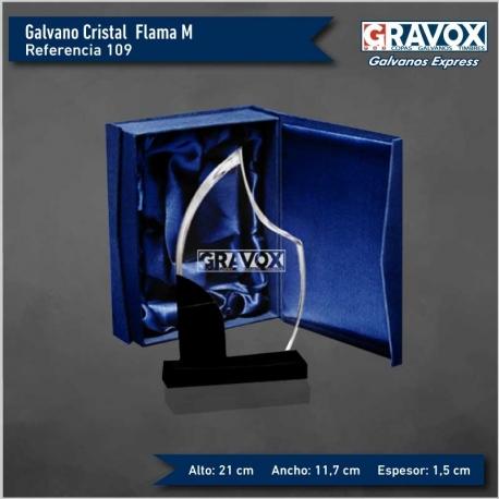 Galvano de Cristal FLAMA M (mediano) con caja y grabado