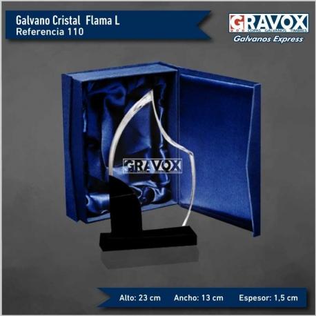 Galvano de Cristal FLAMA L (grande) con caja y grabado