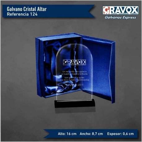 Galvano de Cristal Altar, Incluye Grabado láser y caja de presentación