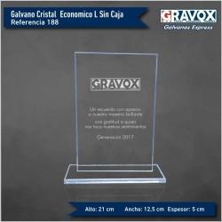 Galvano de Cristal Rectangular Económico L (GRANDE), Incluye grabado láser
