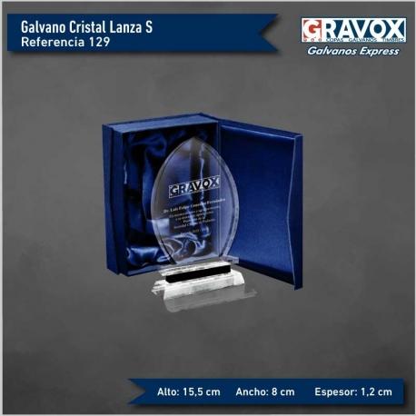 Precioso Galvano de Cristal Lanza S (Pequeño), Incluye caja de presentación y grabado láser