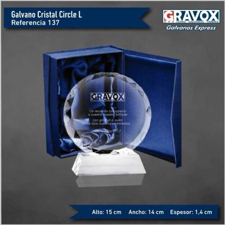 Galvano de cristal Circle L (Grande), Incluye Grabado láser personalizable