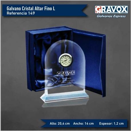 Galvano de cristal Reloj Altar Fino L (Grande), Incluye grabado láser GRATIS