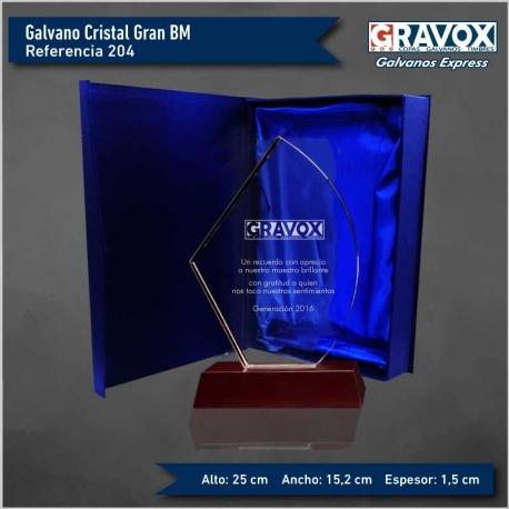 Galvano de Cristal modelo Gran BM, incluye Grabado