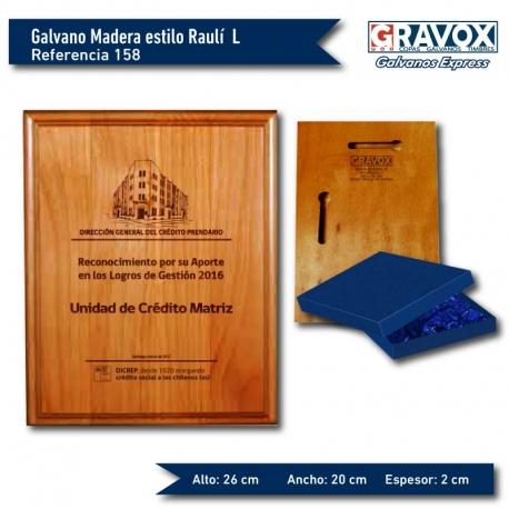 Galvano de Madera estilo Raulí L (GRANDE) / caja y grabado GRATIS.