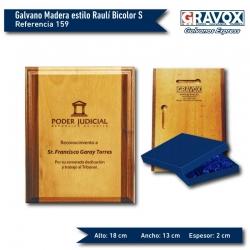 Galvano de Madera estilo Raulí Bicolor S (chico) con grabado y caja GRATIS.