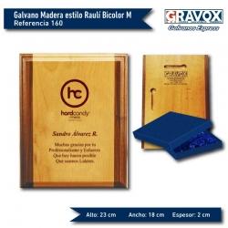 Galvano de Madera estilo Raulí Bicolor M (Mediano), grabado láser y caja incluidos.