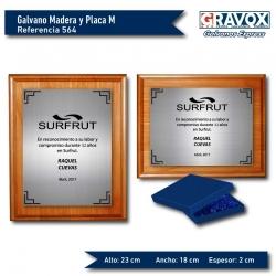 Galvano de Madera más Placa de Gravoply Metalizado, tamaño M (Mediano), Incluye grabado láser y caja de presentación.