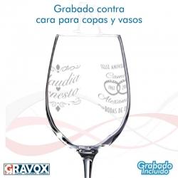Grabado contra cara para copas (solo grabado para copas y vasos comprados en GRAVOX)