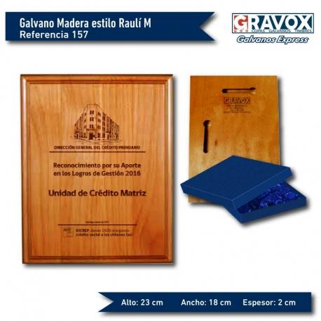 Galvano de Madera estilo Raulí M (Mediano) con caja y grabado GRATIS.