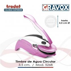 Timbre de Agua o Sello Seco de hasta 3,5 cms para escritorio y bolsillo con palanca en tono rosa incluye el texto/o logo