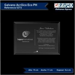 Galvano acrílico económico pequeño con grabado láser y caja de presentación mide 15x11 cms. con grabado horizontal.