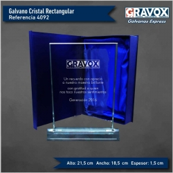 Galvano de Cristal rectangular grande. incluye caja y grabado láser