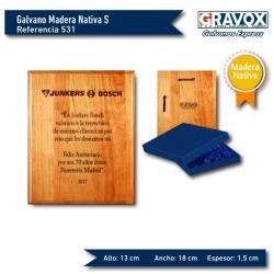 Galvano de Madera Nativa Premio S (Pequeño) incluye caja de presentación y grabado láser